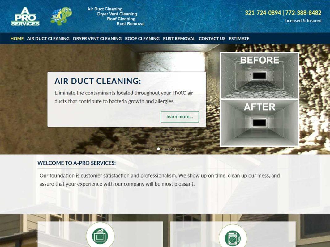 Website design client A-Pro Services