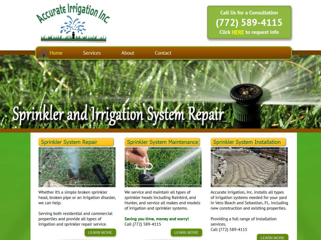 Website design client Accurate Irrigation and Pump