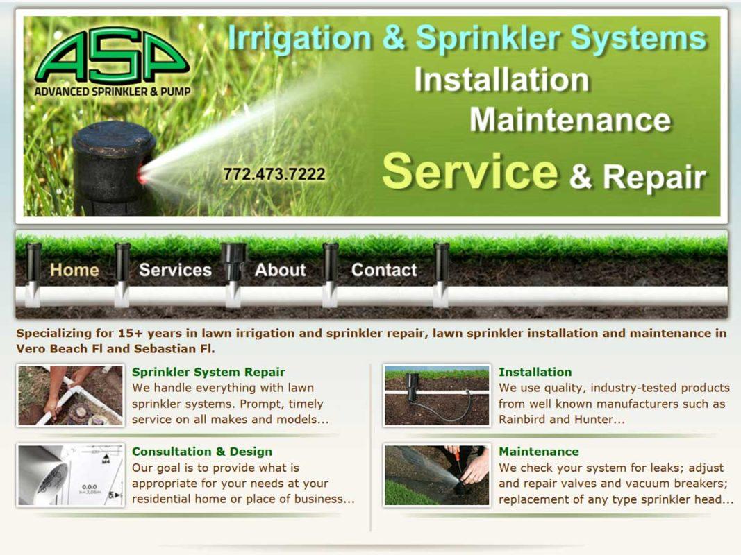 Website design client Advanced Sprinkler And Pump