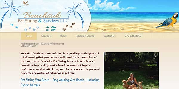 Website design client Beachside Pet Sitting