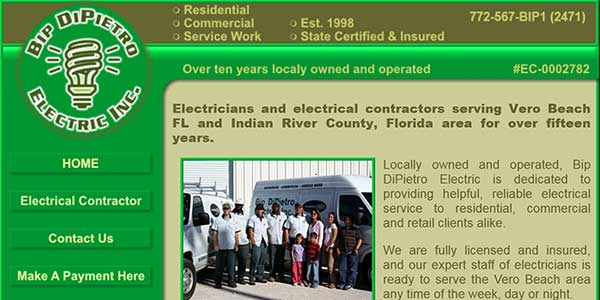 Website design client Bip Electric