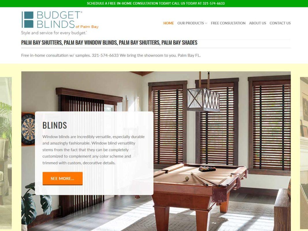 Website design client Budget Blinds Palm Bay