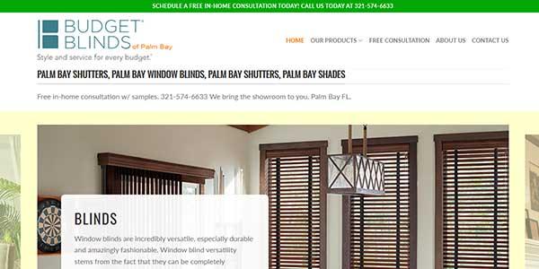 Website design client Budget Blinds of Palm Bay