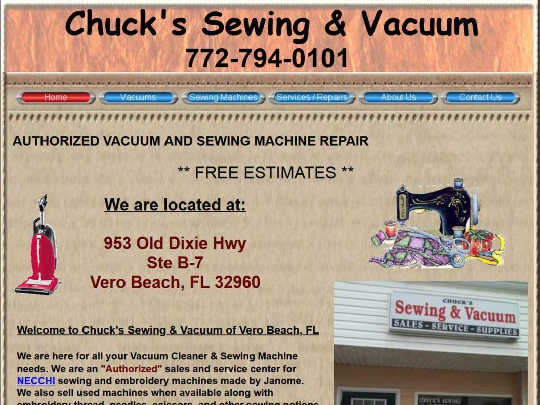 Website design client Chucks Sew and Vac