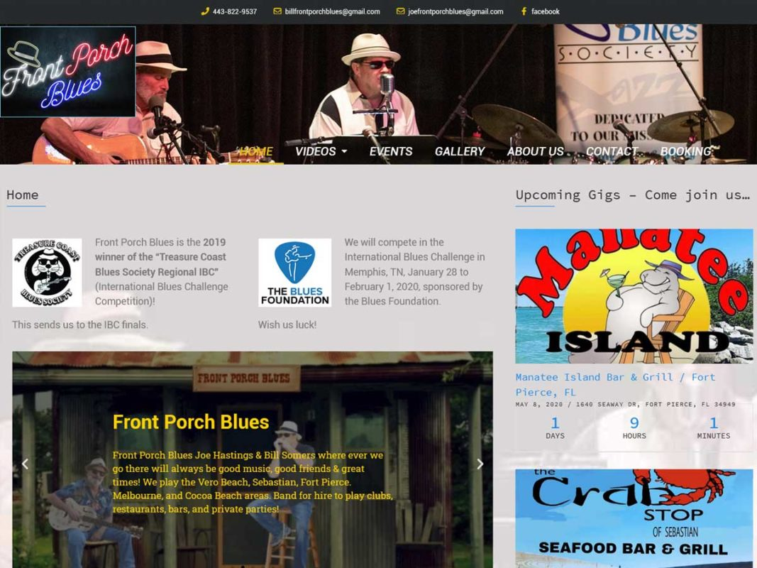 Website design client Front Porch Blues