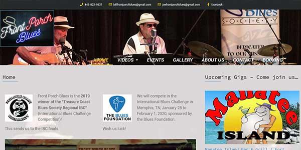 Website design client Front Porch Blues band