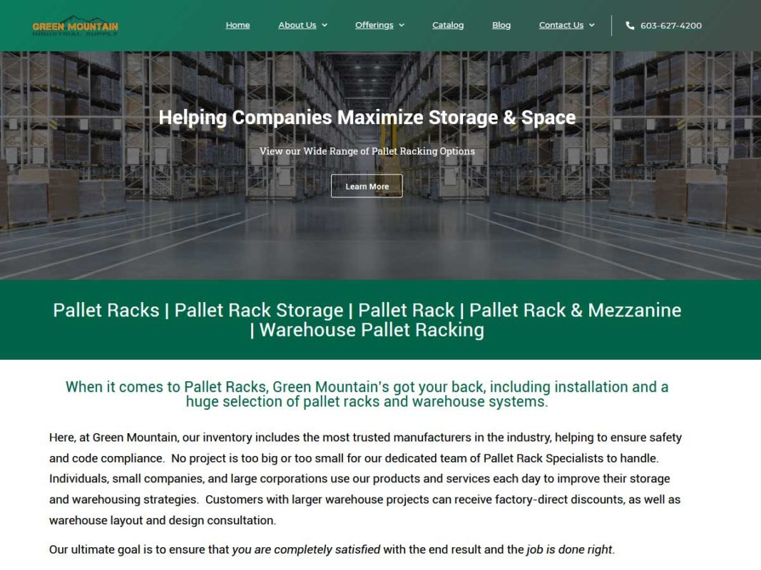 Website design client Green Mountai Industrial Supply