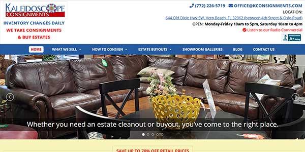 Website design client Kaleidoscope Consignments