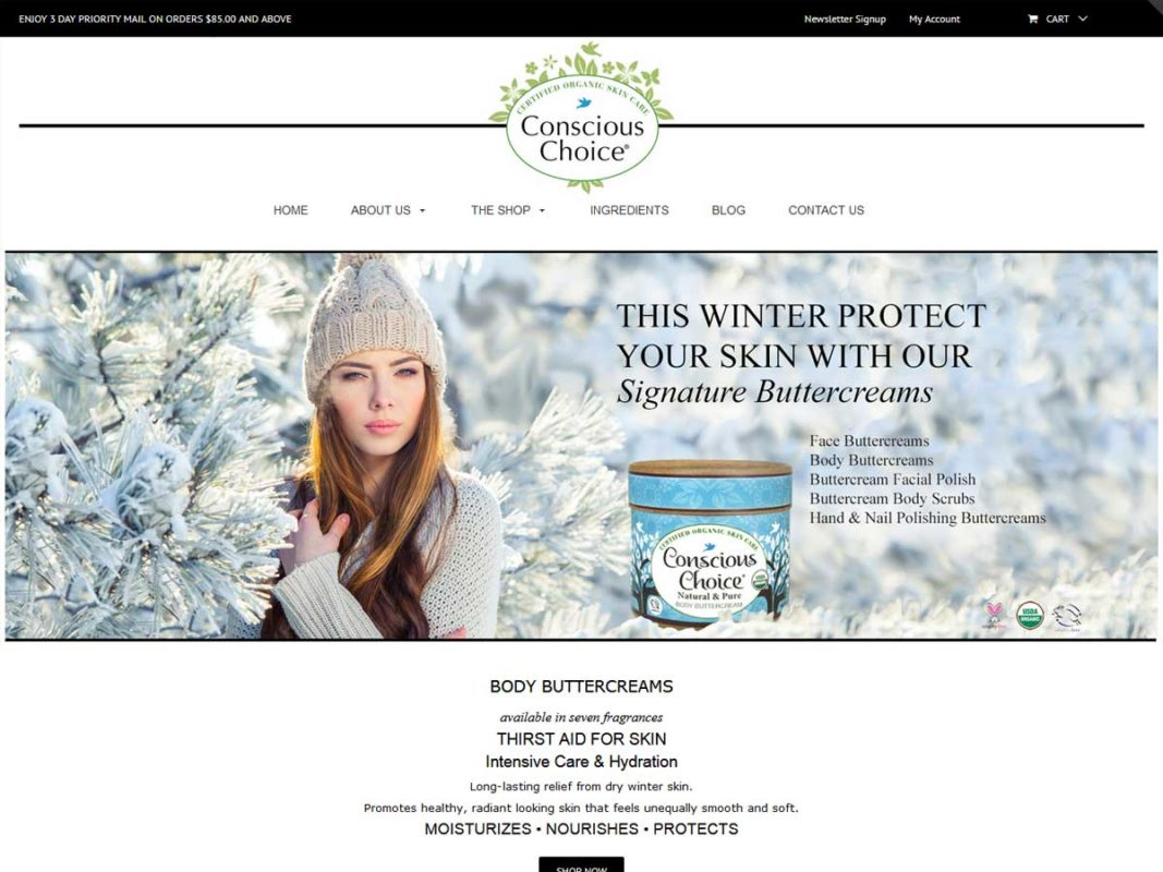 Website design client Conscious Choice Skin Care
