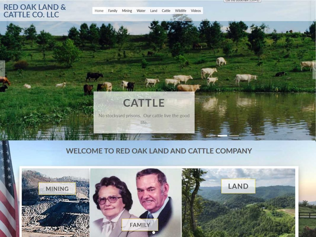 Website design client Red Oak Land and Cattle, Co.