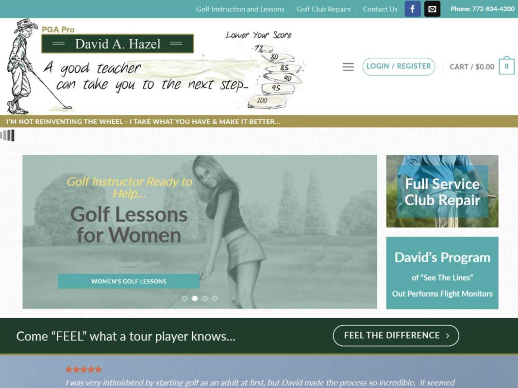 Website design client David A. Hazel, PGA Pro