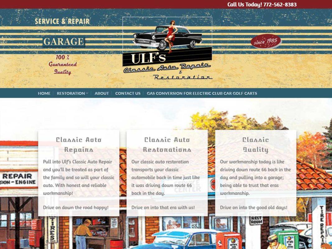 Website design client Ulf's Classic Auto Repair